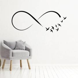 Muursticker infinity met vogels, oneindigheid