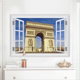 Muursticker raamview Arc de Triomphe Parijs