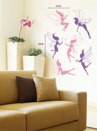 Muursticker roze en paarse elfjes