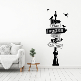 Muursticker paal met diverse plaatsen en vogels