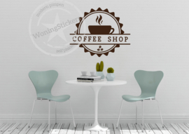 keukensticker 'coffee shop' - koffie muursticker