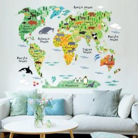 Muursticker wereldkaart met dieren