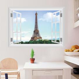 Muursticker raamview Eiffeltoren Parijs