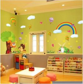 Muursticker regenboog en luchtballonnen