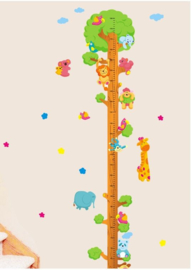 Muursticker groeimeter met boom en dieren
