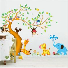 Muursticker boom met dieren