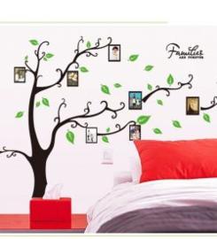 Muursticker boom met  blaadjes en fotolijstjes