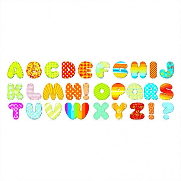 Muursticker gekleurd Alfabet