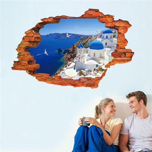 Muursticker view Santorini