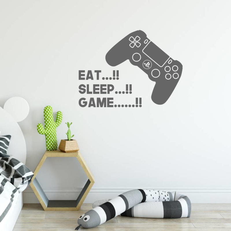 Muursticker Eat, sleep game