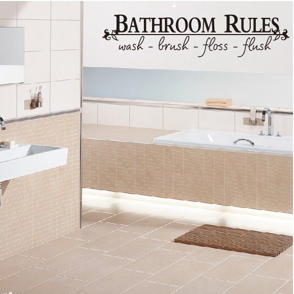 Muursticker spreuk BATHROOM RULES