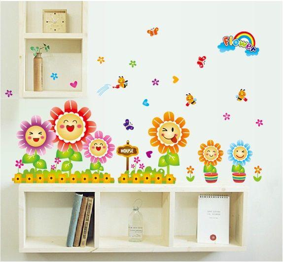 Muursticker bloemen in pot met regenboogje