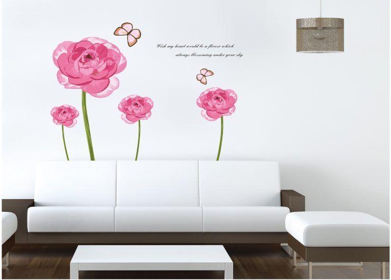 Muursticker roze bloem op stengel
