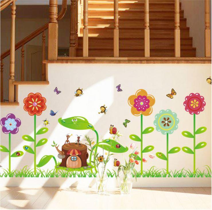 Muursticker insecten en bloemen
