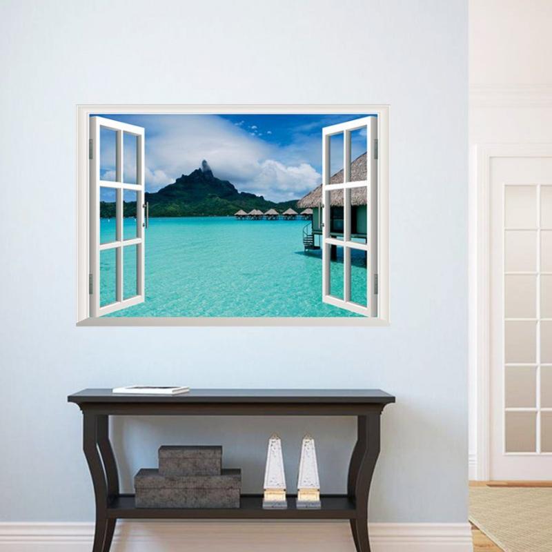 Muursticker raamview Malediven