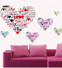Muursticker harten met LOVE