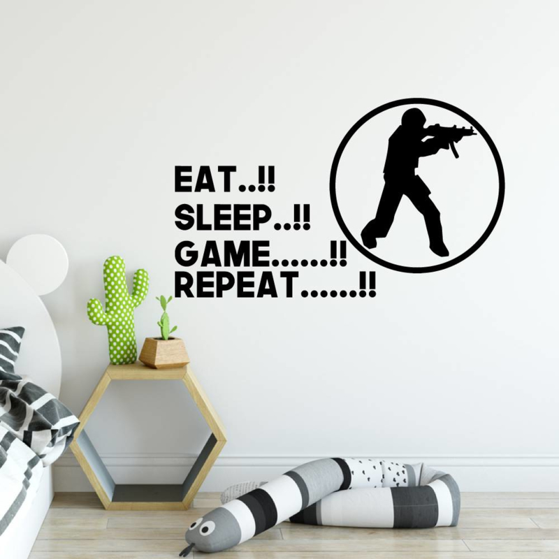 Muursticker Eat sleep game repeat