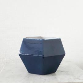 Zeshoekige bloempot donkerblauw