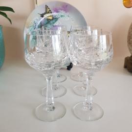 Set van 6 wijnglazen van kristal