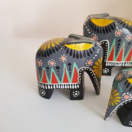 Houten olifantjes set van 3