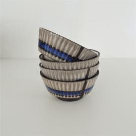 Set kleine schaaltjes grijs / blauw