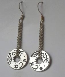 Boucles d'oreilles en argent tibétain