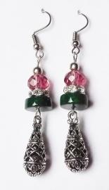 Boucles d`oreilles tibétaines roses