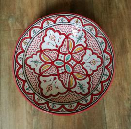 Plat de poterie marocaine rouge/blanc