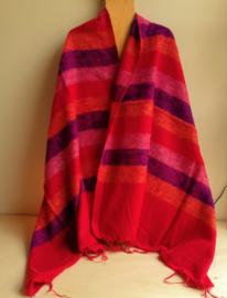 Meditatie omslagdoek rood/paars