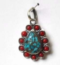 Pendentif Tibétain Turquoise et Corail