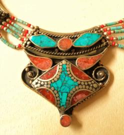 Collier Tibétain Turquoise et Corail