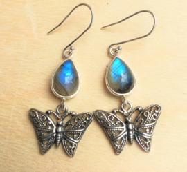 Oorbellen Labradoriet vlinder