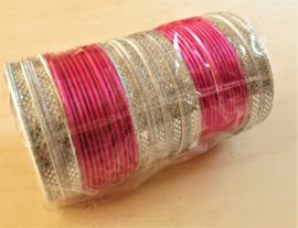 Bracelet indien original - rose/argent