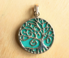 Zilveren hanger Tree of Life Turkoois