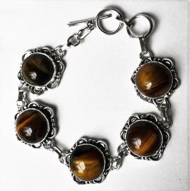 Edelsteen armband zilver Tijgeroog