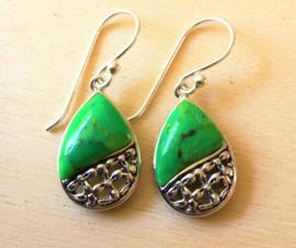 Oorbellen zilver met groene Turkoois