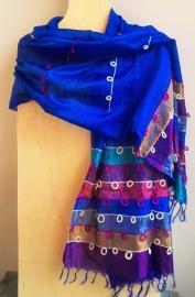 Zijden sjaal uit India blauw