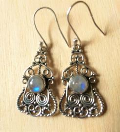 Boucles d'oreilles pierre de lune en argent