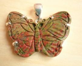 Pendentif papillon Unakite