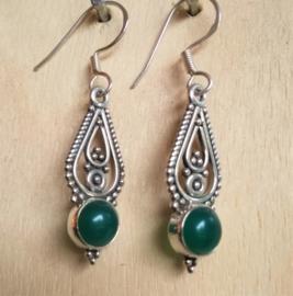 Groene Onyx oorbellen zilver