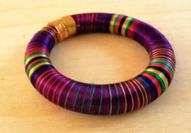 Bracelet indien multicolore violet en soie
