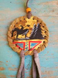 Pendentif amérindien en cuir
