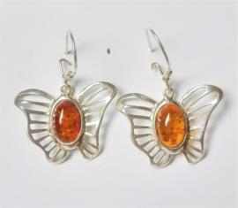 Vlinder oorbellen Amber