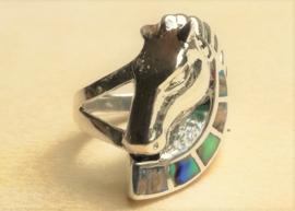 Ring zilver met paardenhoofd