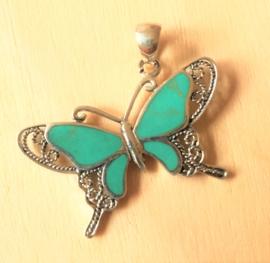 Hanger vlinder Turkoois zilver