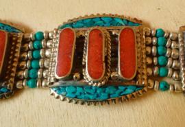Tibetaanse armband Koraal en Turkoois