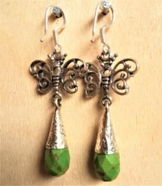Boucles d'oreilles Papillon en argent avec Turquoise vert