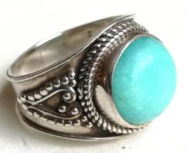Ring  Chrysopraas blauw