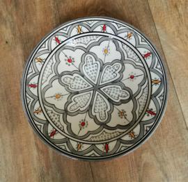 Plat poterie marocaine gris/blanc