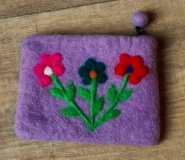 Etui Feutre lilas du Népal